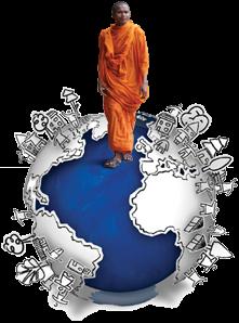 Man standing on a globe