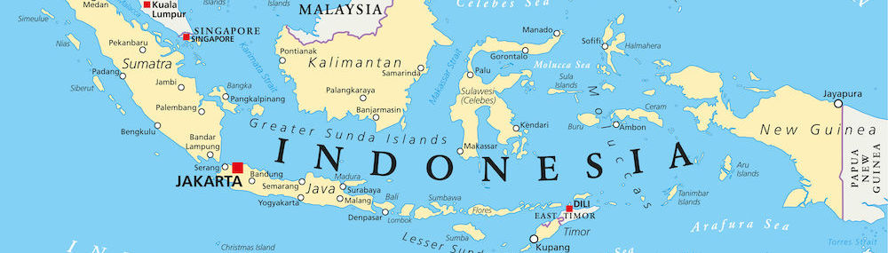 A map of Indonesia in Southeast Asia